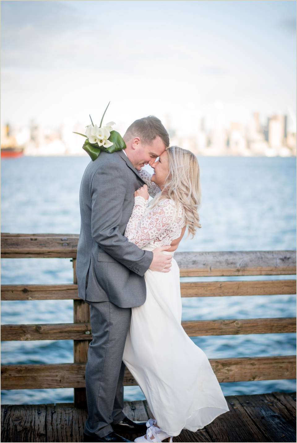 alki beach seattle skyline wedding photos