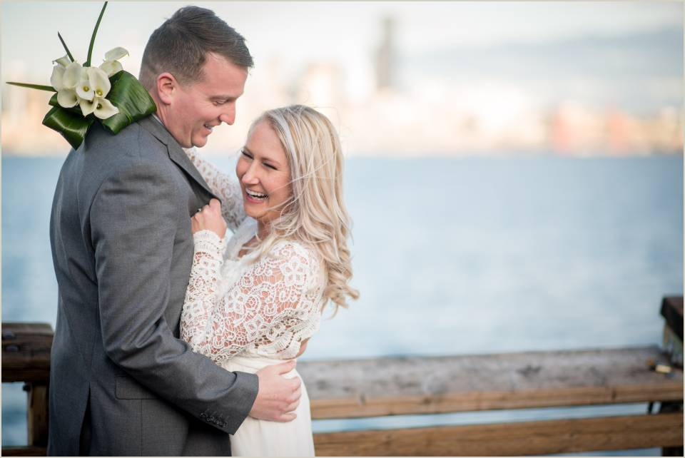 alki beach seattle skyline winter wedding