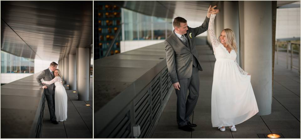bride and groom dancing downtown rooftop wedding