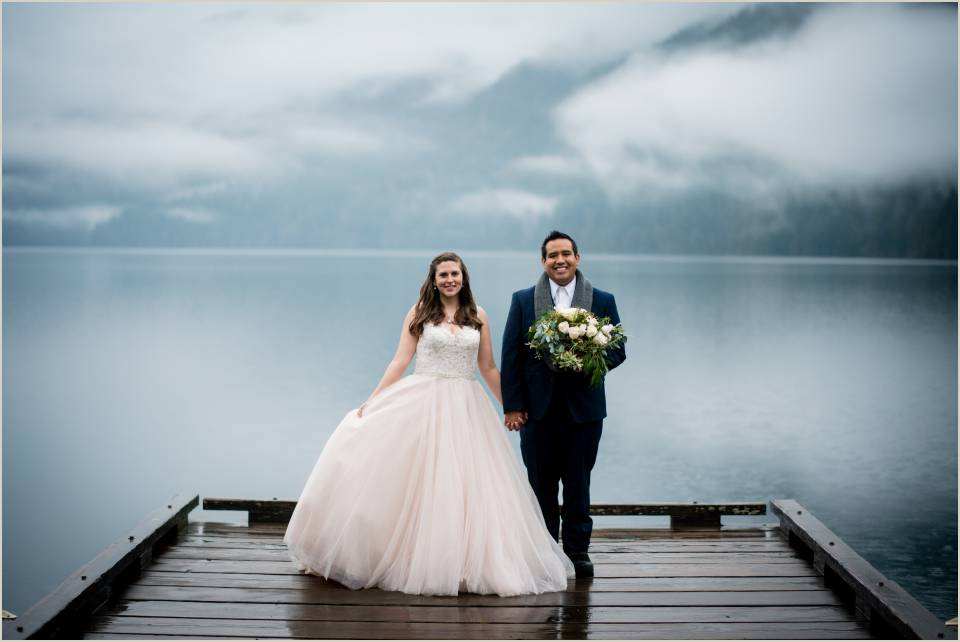 bride and groom lake crescent elopement 1
