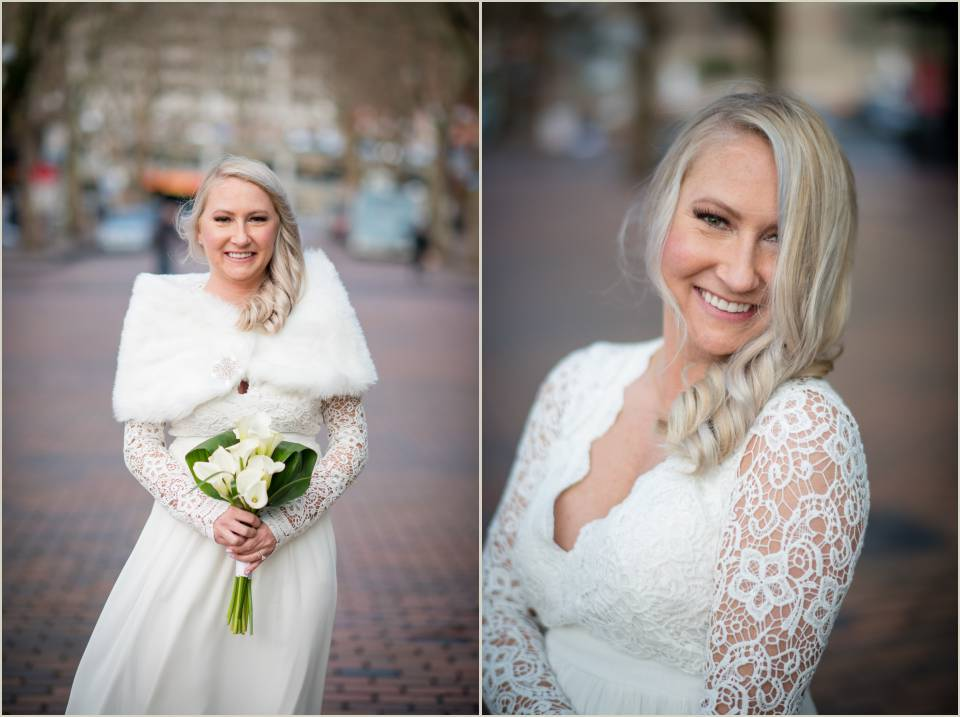 bride fur wrap winter pioneer square elopement