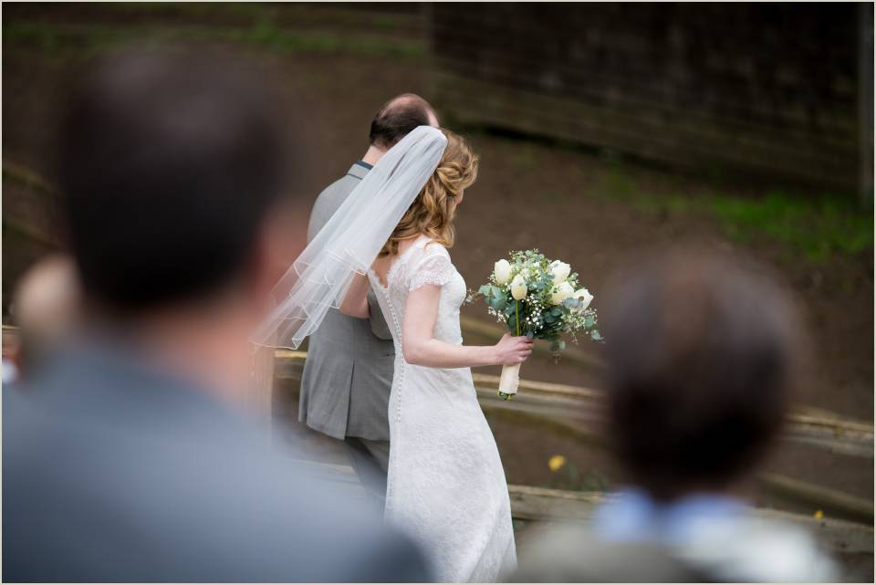 bride walking down the aisle at camp orkila