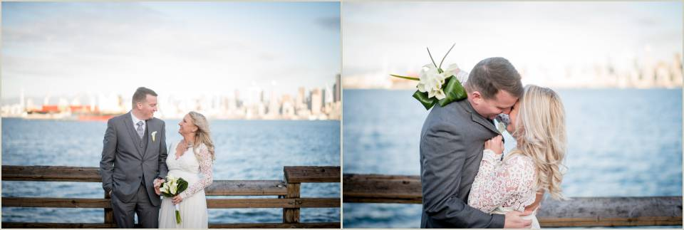 couple in love waterfront downtown seattle courthouse wedding