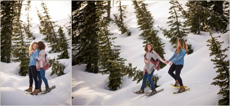 couple snowshoing on mountain