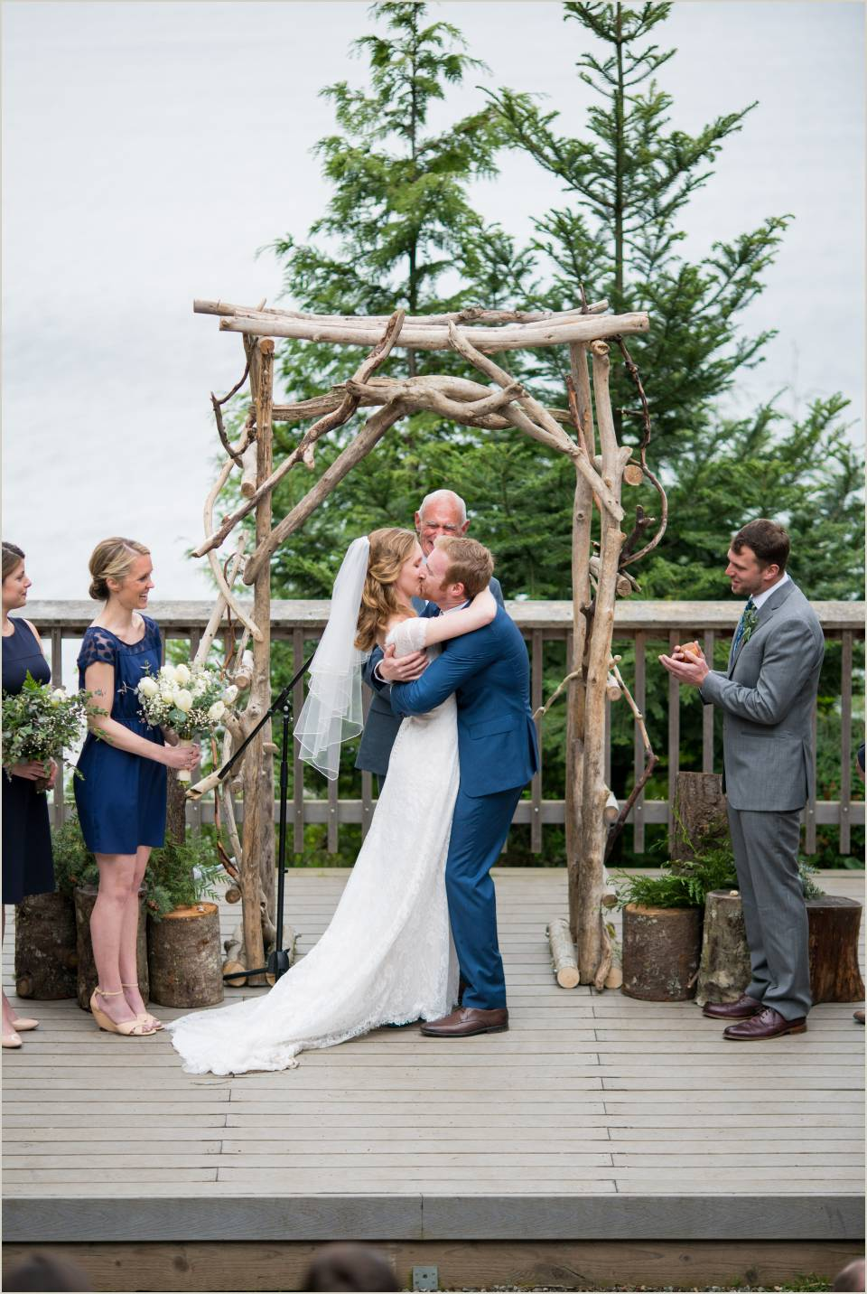 first kiss at camp orkila wedding on orcas island