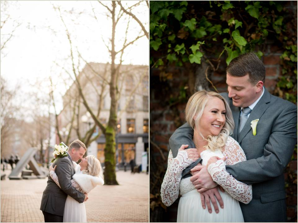 intimate wedding photos downtown seattle courthouse wedding