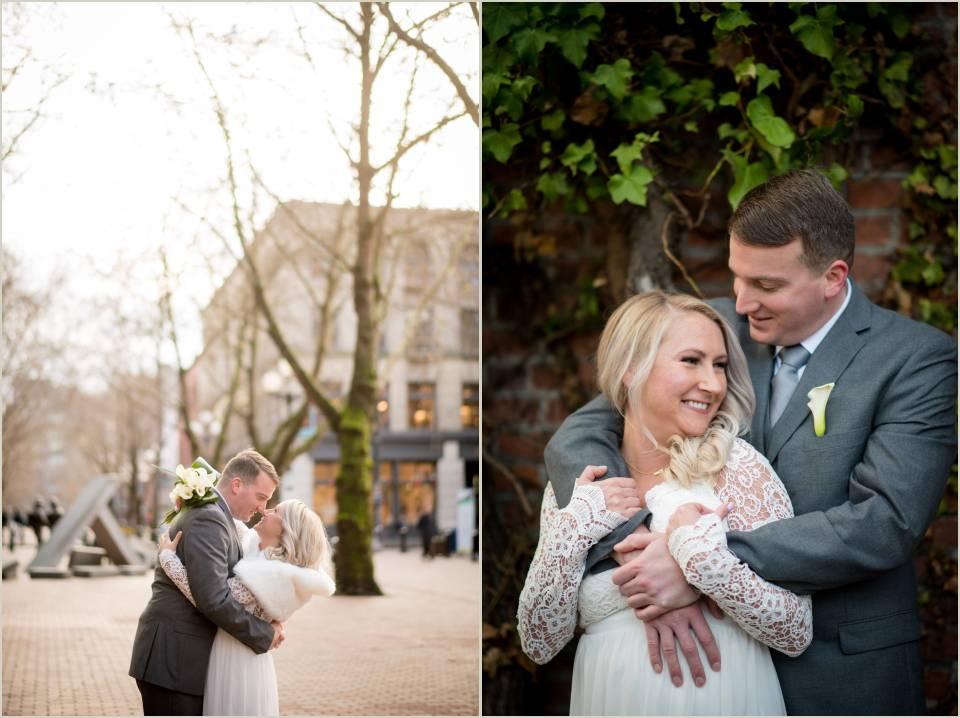 intimate wedding photos downtown seattle courthouse wedding