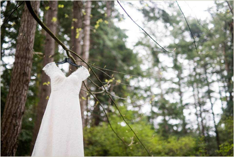 lace wedding dress hanging in woods