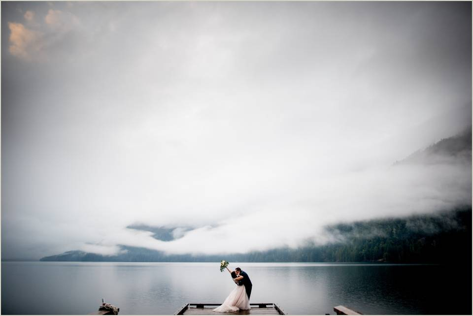 passionate kiss at sunset on lake crescent 1