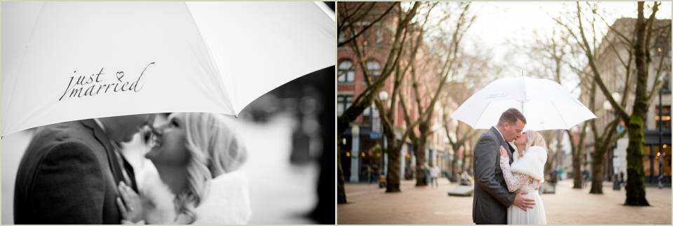pioneer square umbrella wedding photos
