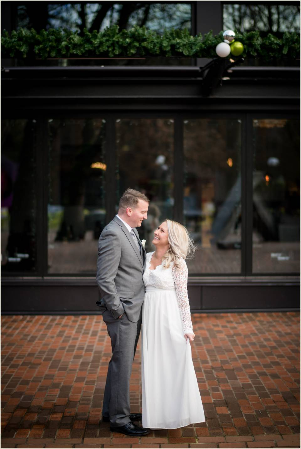 pioneer square wedding photos husband and wife
