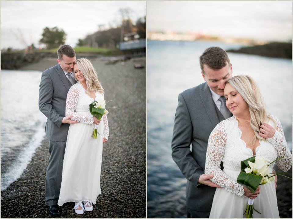 seattle beach winter wedding photos