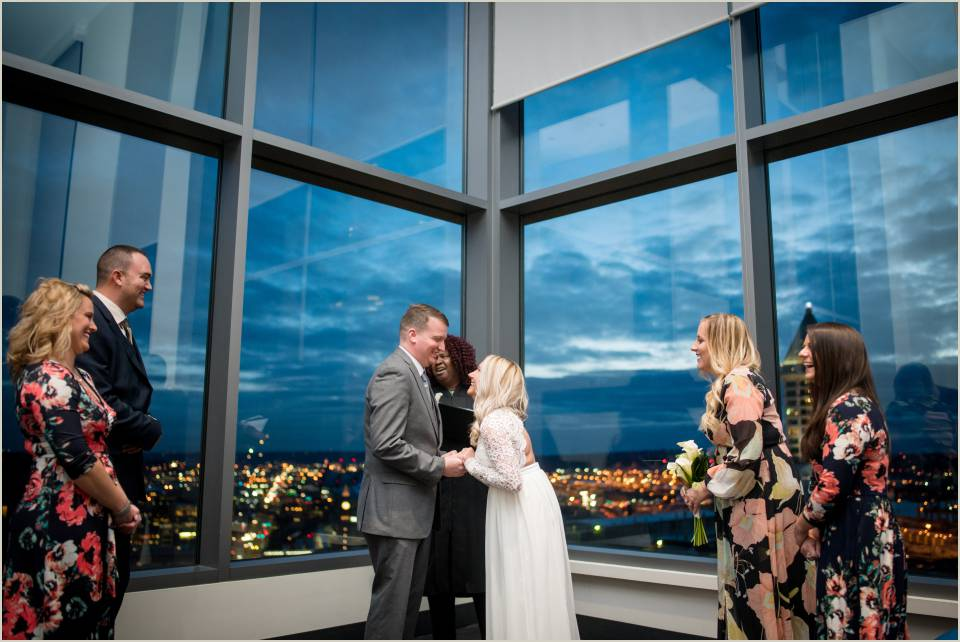 Small Intimate Seattle Courthouse Wedding Evening