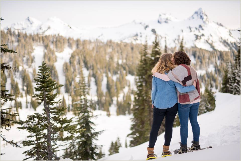 snowshoe engagement session at mount rainier