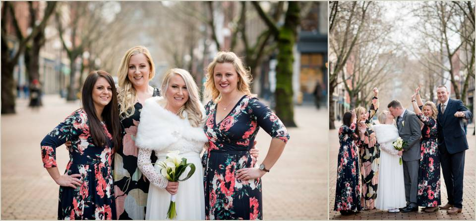 wedding photos elopement winter pioneer square