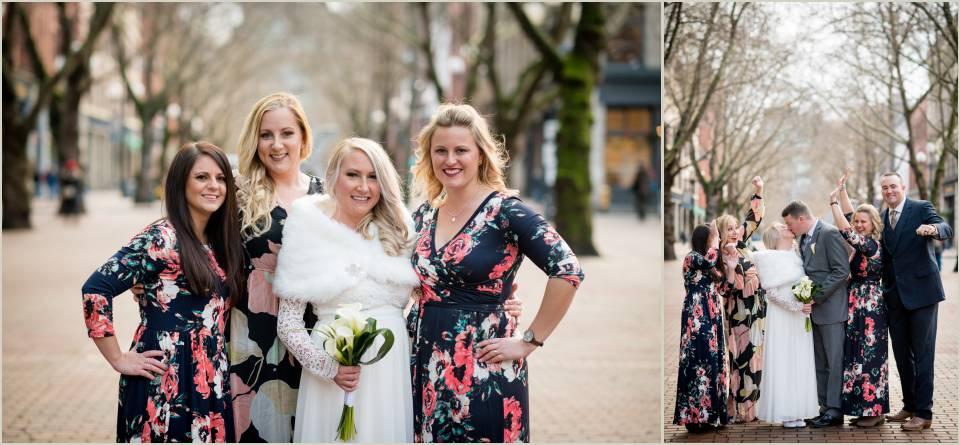 wedding photos elopement winter pioneer square