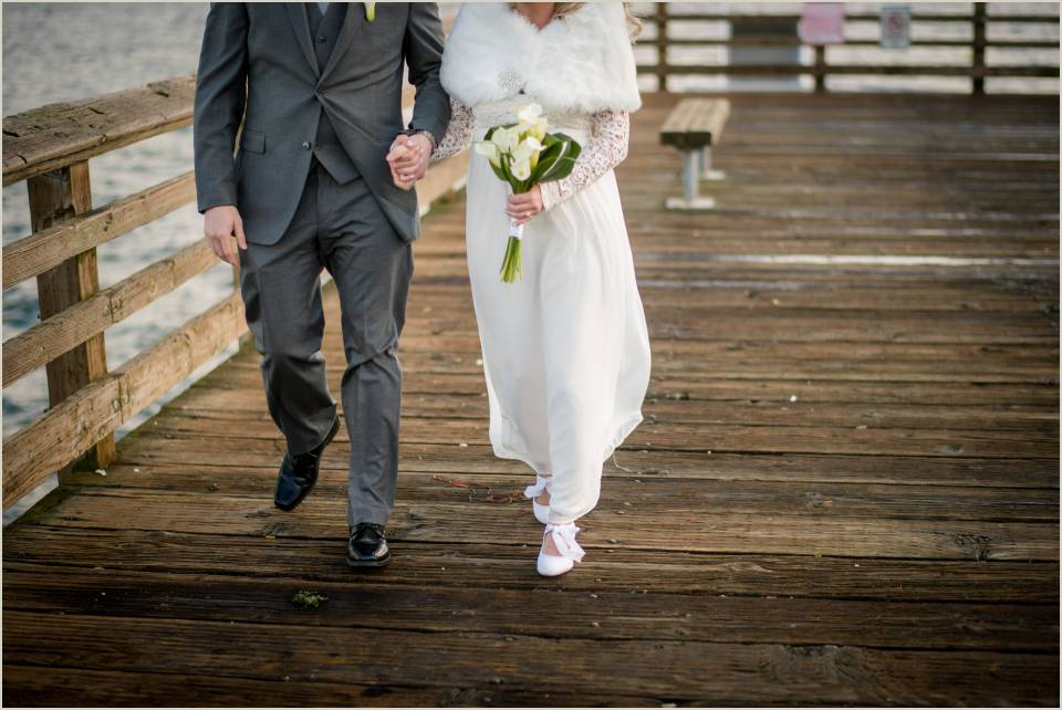 winter boardwalk wedding photos alki beach seattle