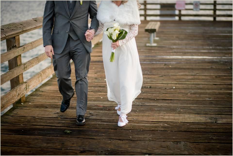 winter boardwalk wedding photos alki beach seattle