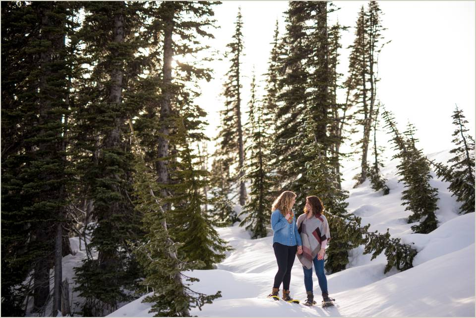 winter engagement session at paradise