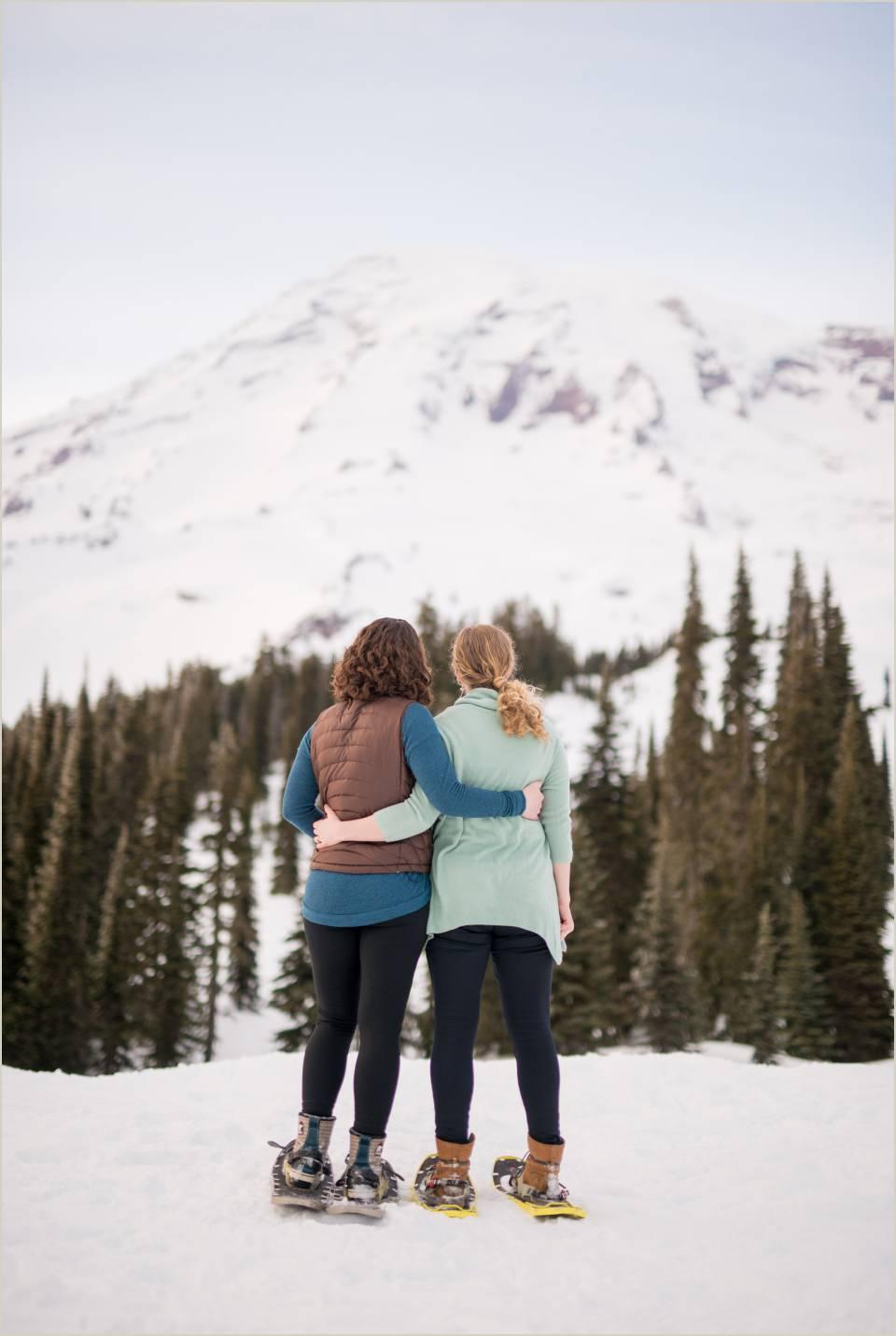 winter mount rainier lesbian engagement photos