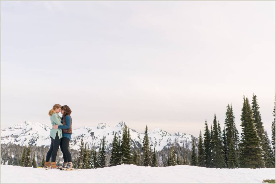 winter mountain engagement photos