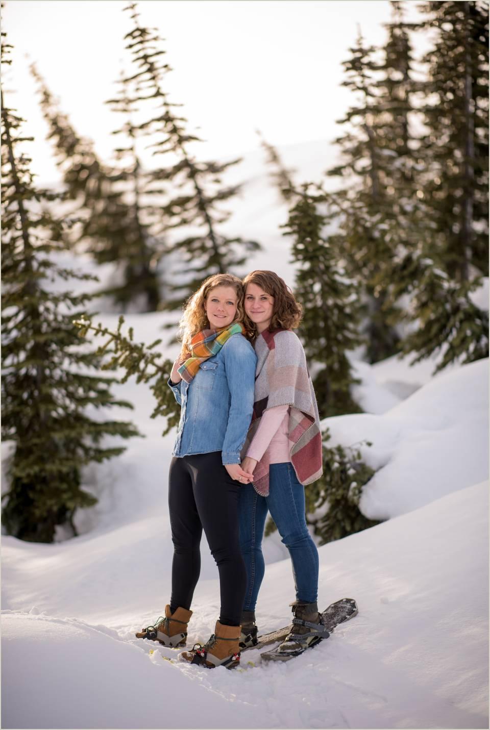 winter same sex engagement photos at mount rainier