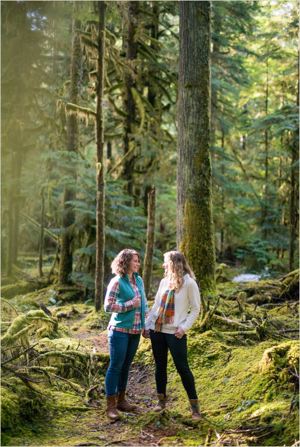 woodsy same sex couple engagement photos