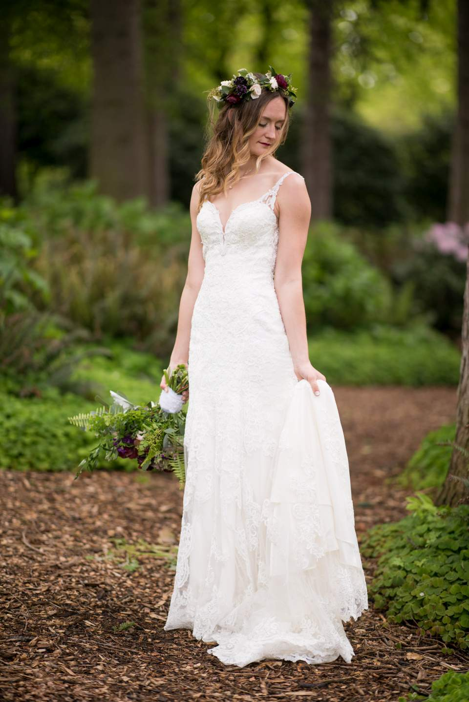 beautiful boho chic bride on wedding day