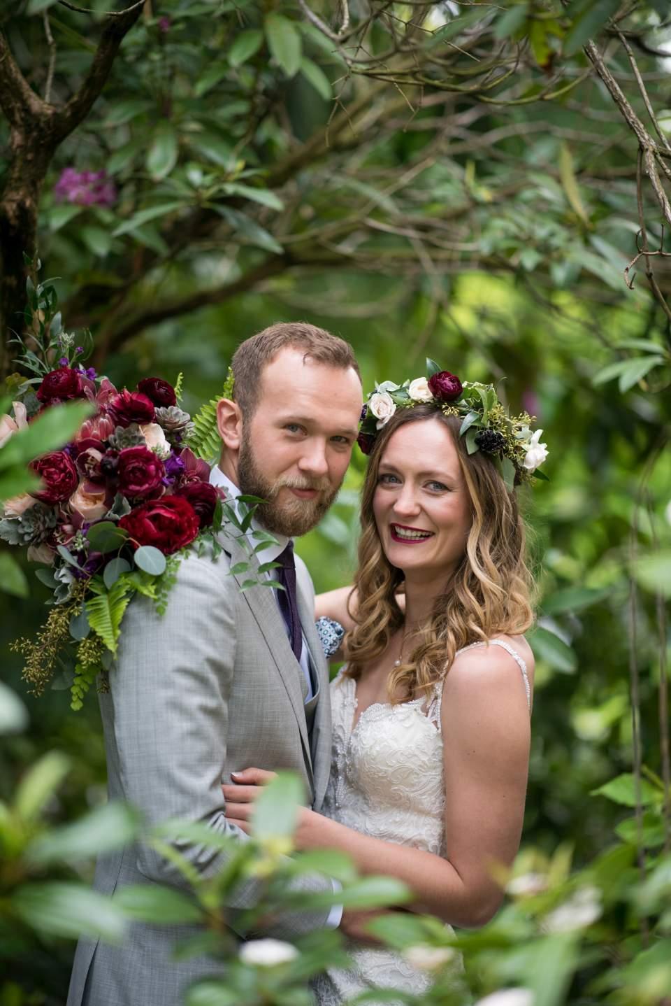 boho bride and groom on wedding day