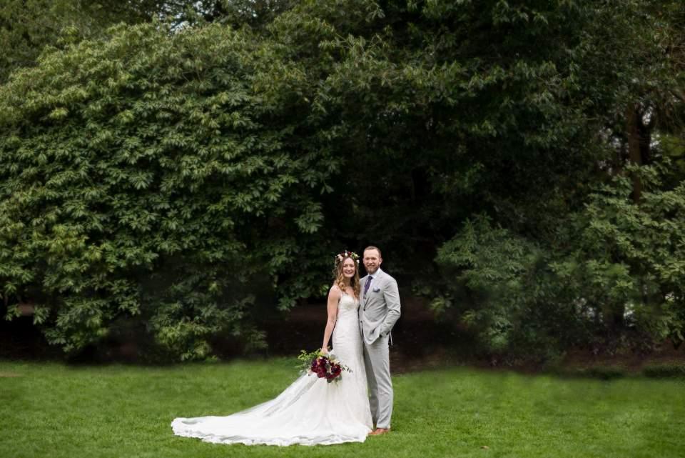 boho chic bride and groom