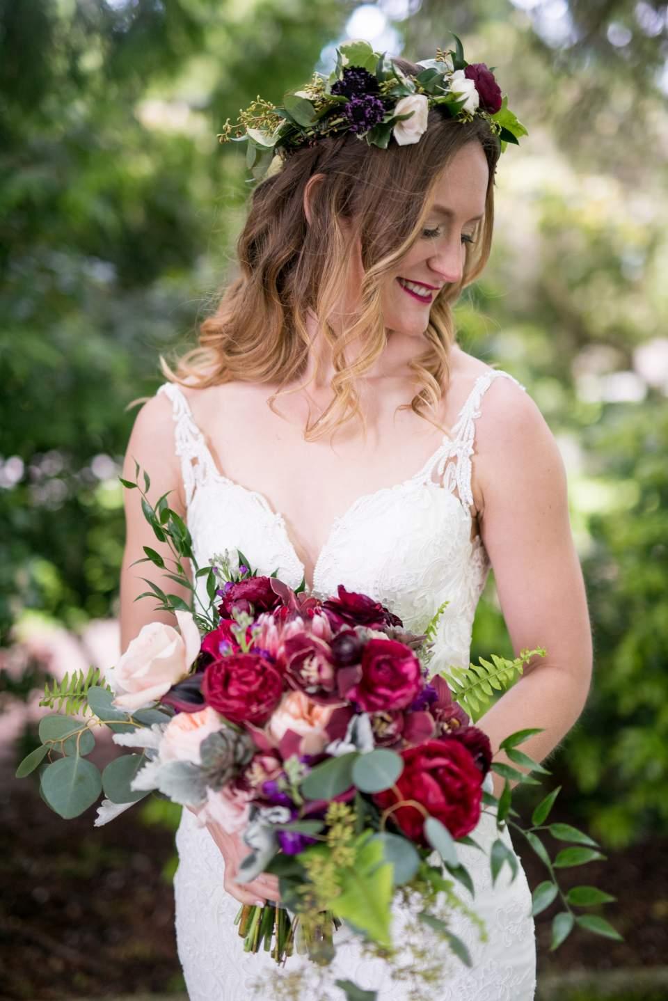 bride wearing flower crown seattle wedding