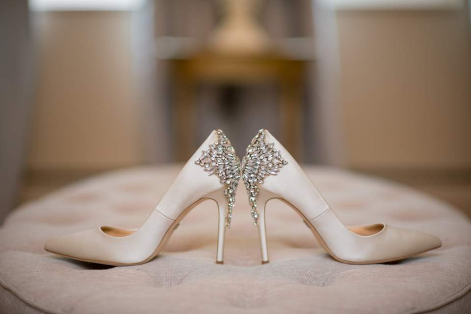 brides shoes in rock green gardens bridal room