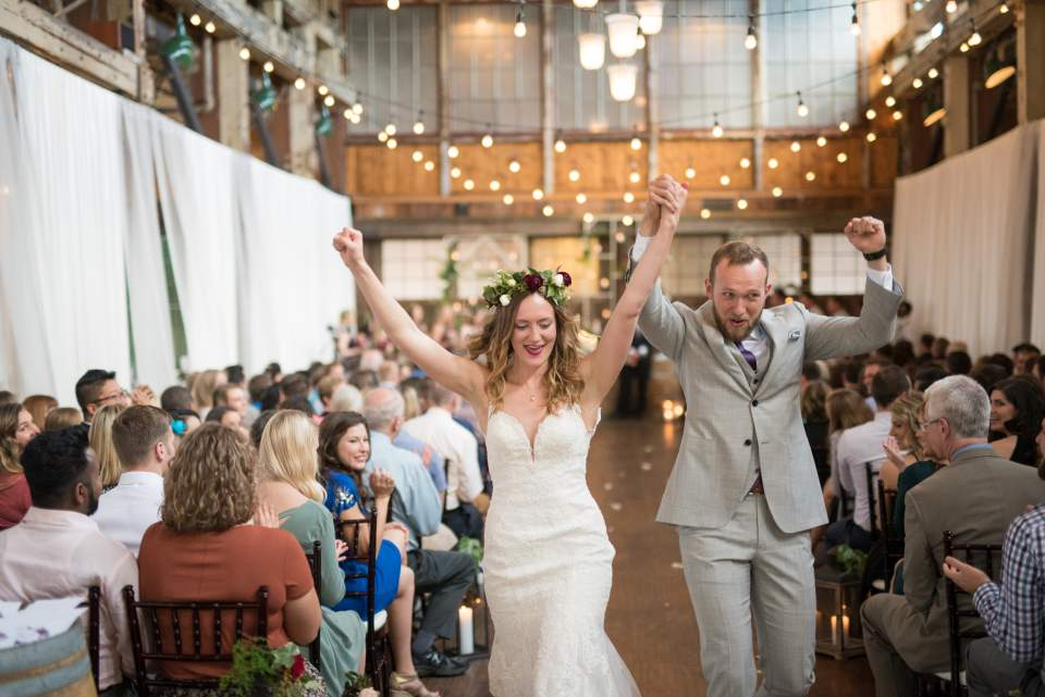 celebratory bride and groom