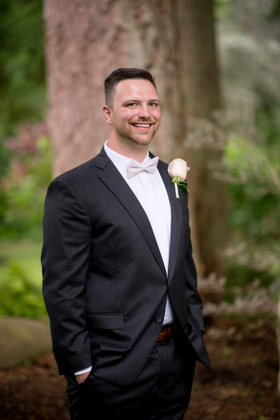 classic style groom portrait