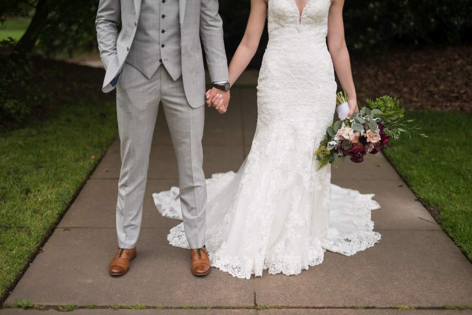 detail photo of bride and groom