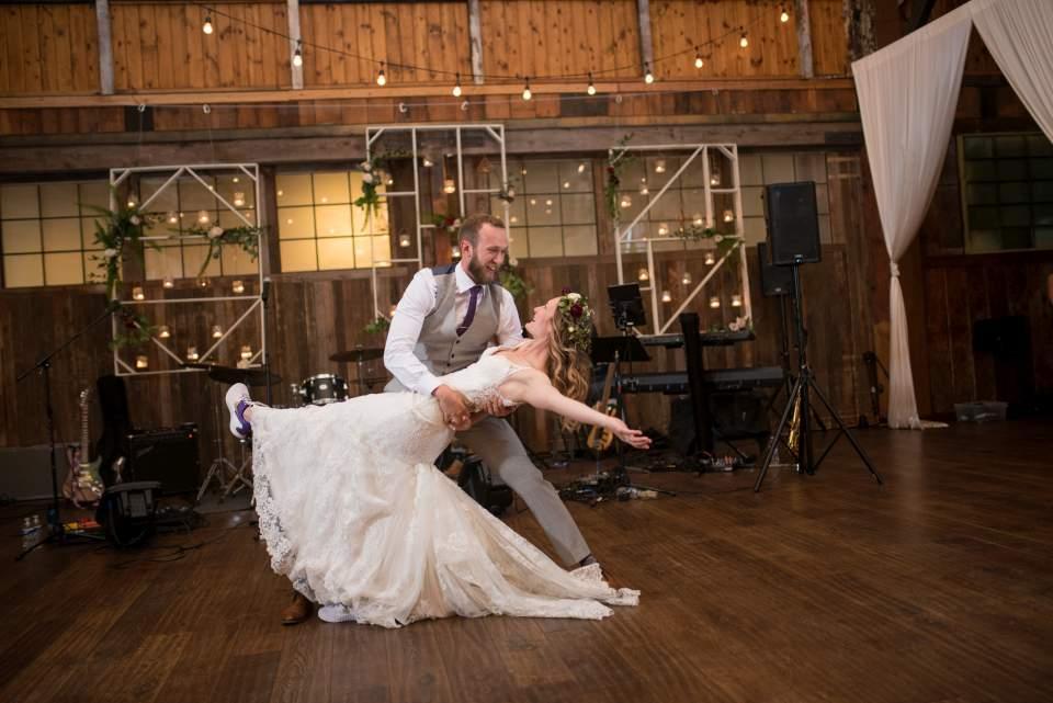 epic bride and groom dip