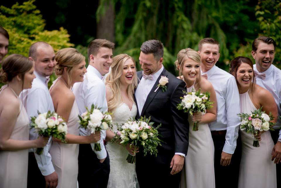 garden wedding in a classic style with soft pink and greenery accents