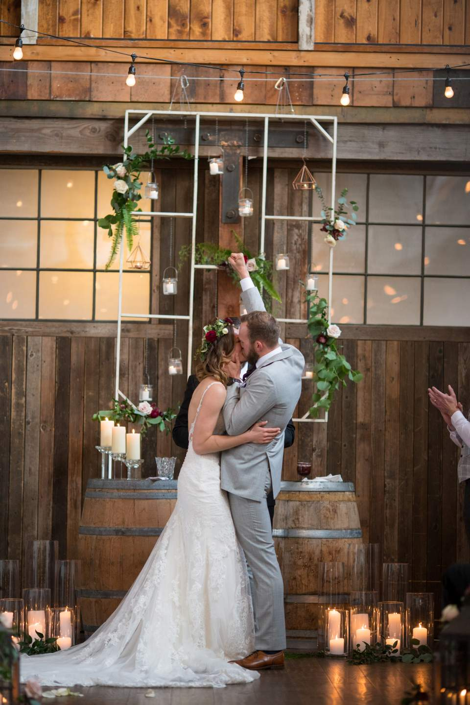 groom celebrating while being pronounced husband and wife at sodo park