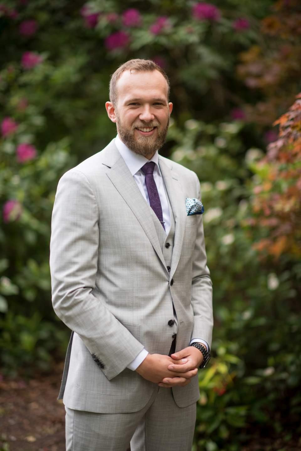 groom portrait before first look