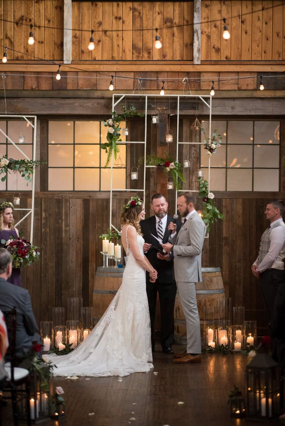 groom reading wedding vows at sodo park