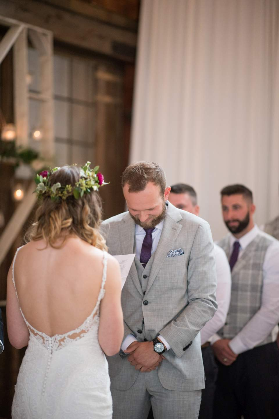 grooms reaction to brides wedding vows