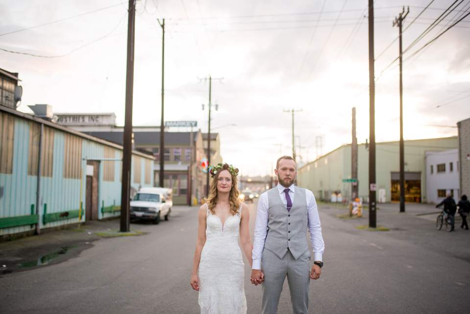 industrial boho chic wedding at sodo park in seattle