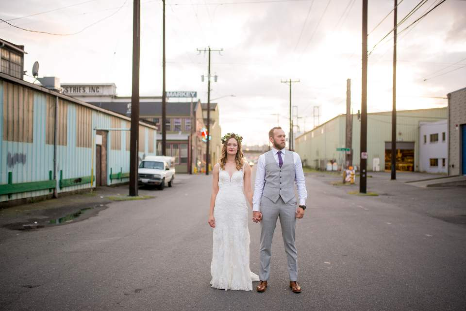 industrial style wedding photos in sodo seattle