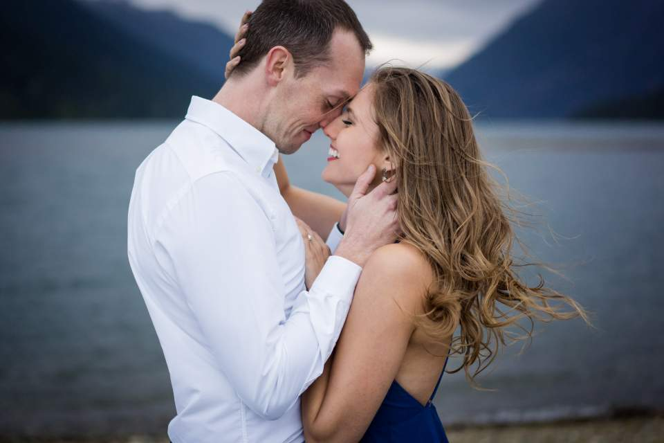 moody and romantic engagement photos
