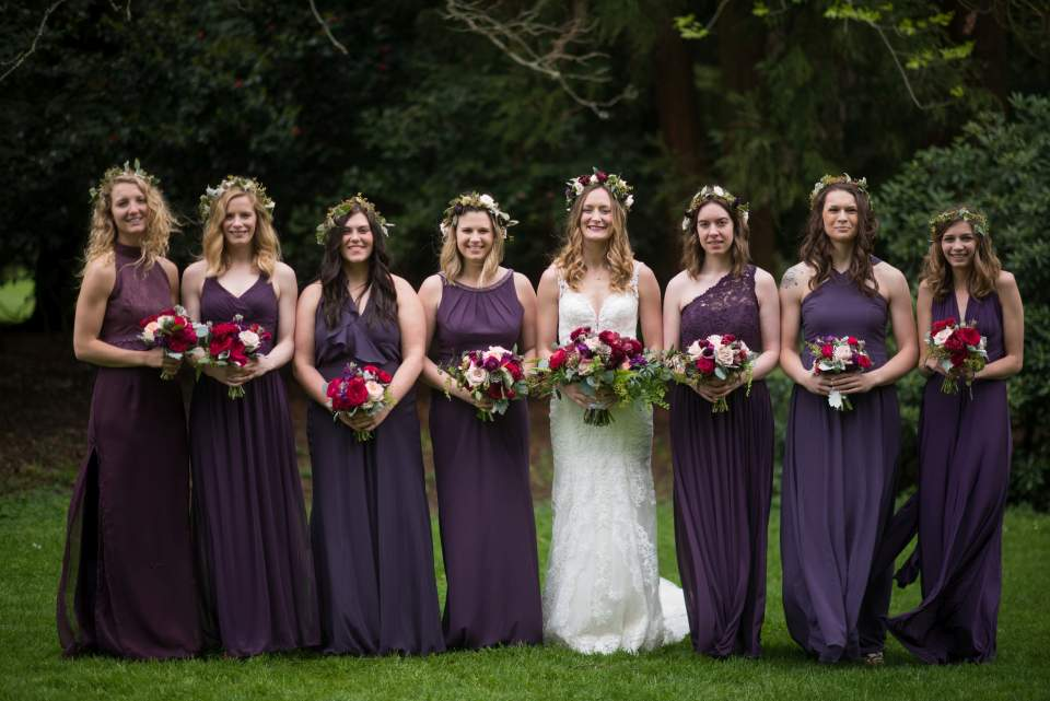 purple boho chic bridesmaids photo