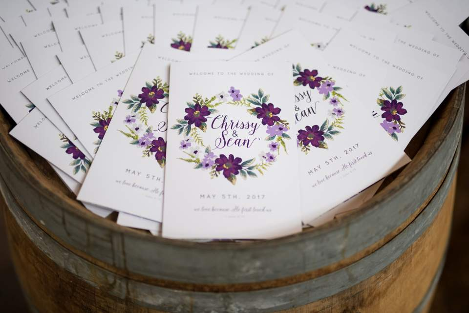 purple floral wedding programs