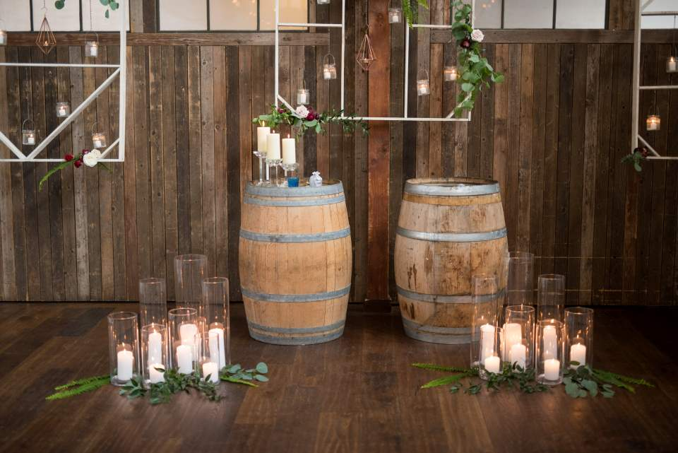 romantic industrial boho wedding ceremony