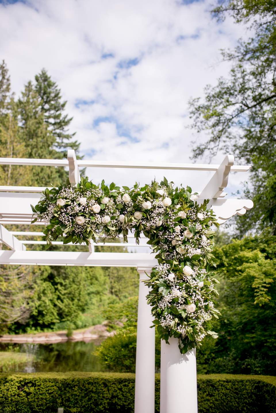 roses and greenery arbor decor