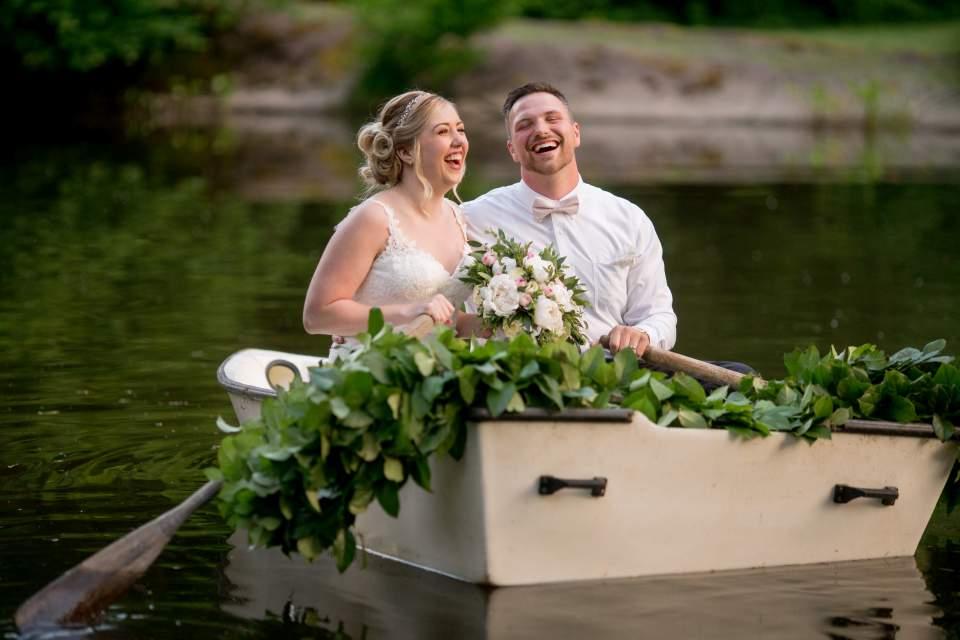 rowboat wedding photos