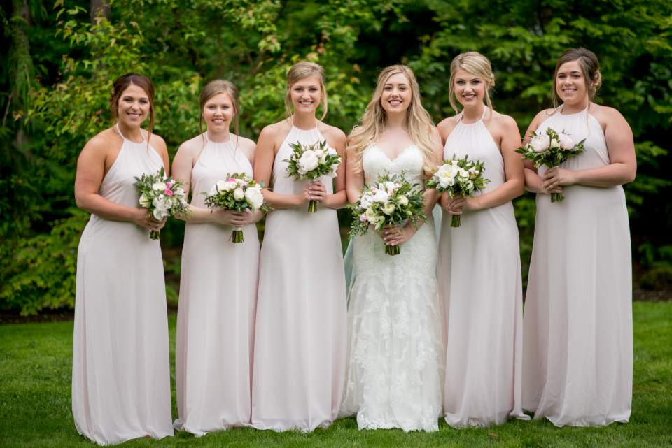 soft pink and white bridal party